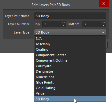 Select the Layer Type from the pre-defined list of Types, individual mechanical layers are shown on the left, Component Layer Pairs are shown on the right.
