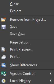 Типовое контекстное меню документа (документа схемы)