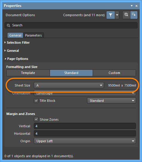 Use the Page Options region of the Properties panel in Document Options modeto set thesheet size.