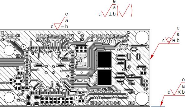 Несколько обозначений шероховатости Surface Finish различных стилей, размещенных на виде Board Fabrication View.