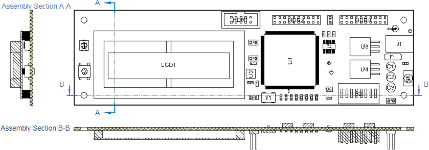 Placed Board Section Views in the horizontal and vertical planes for a Board Assembly View.