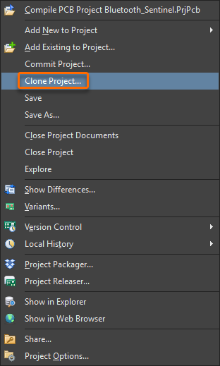 Clone Project option
