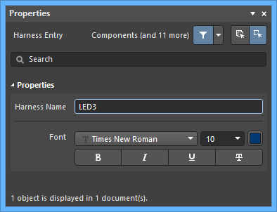 TheHarness Entrymode of the Properties panel