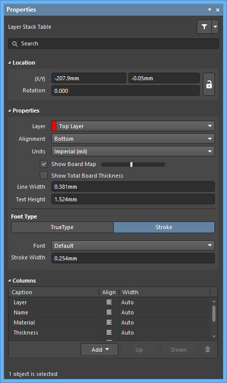 The Layer Stack Tablemode of the Properties panel