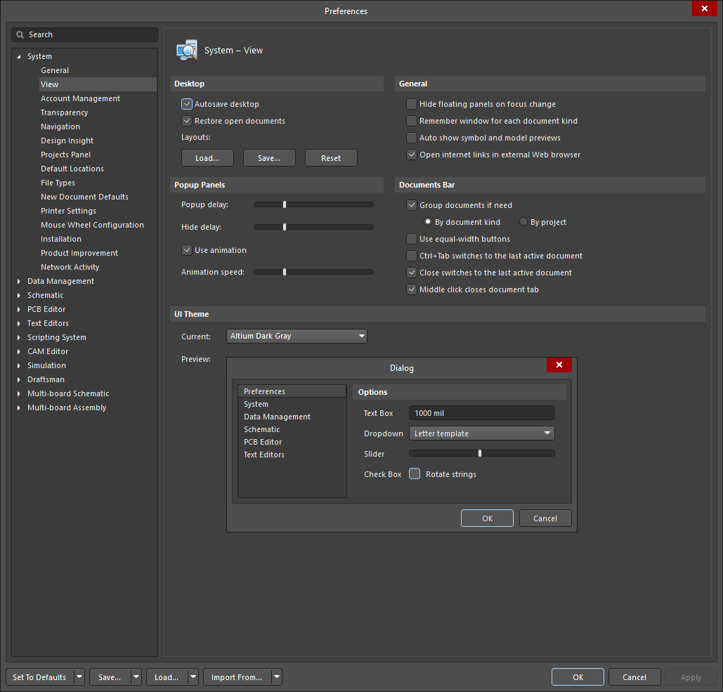 System - View | Altium Designer 19 1 User Manual | Documentation