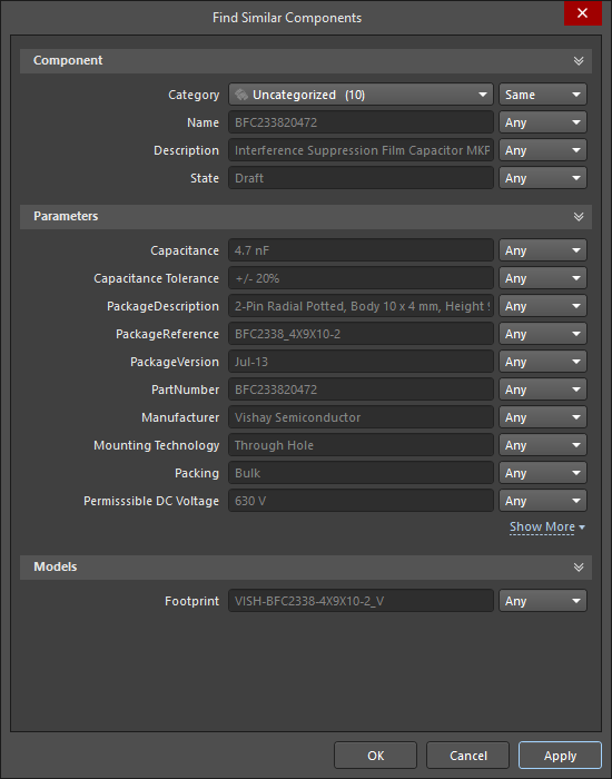 The Find Similar Components dialog