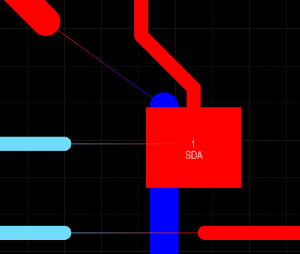 Connection lines can be displayed using their start-and-end layer colors. In the image on the right, a number of nets have had routing segments removed to show how the connection lines display.