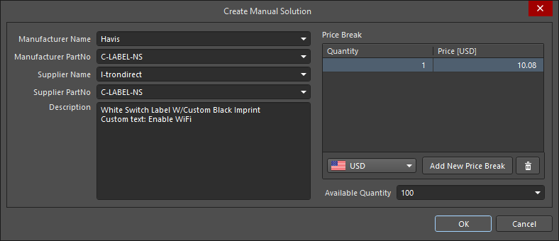 Create Manual Solution dialog, used to add details for a part that cannot be sourced through the Altium Parts Provider