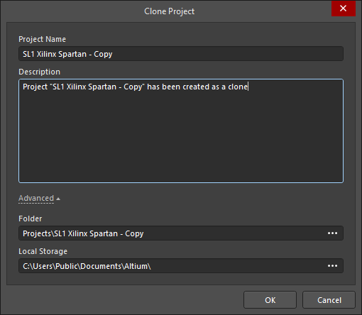 The Clone Project dialog