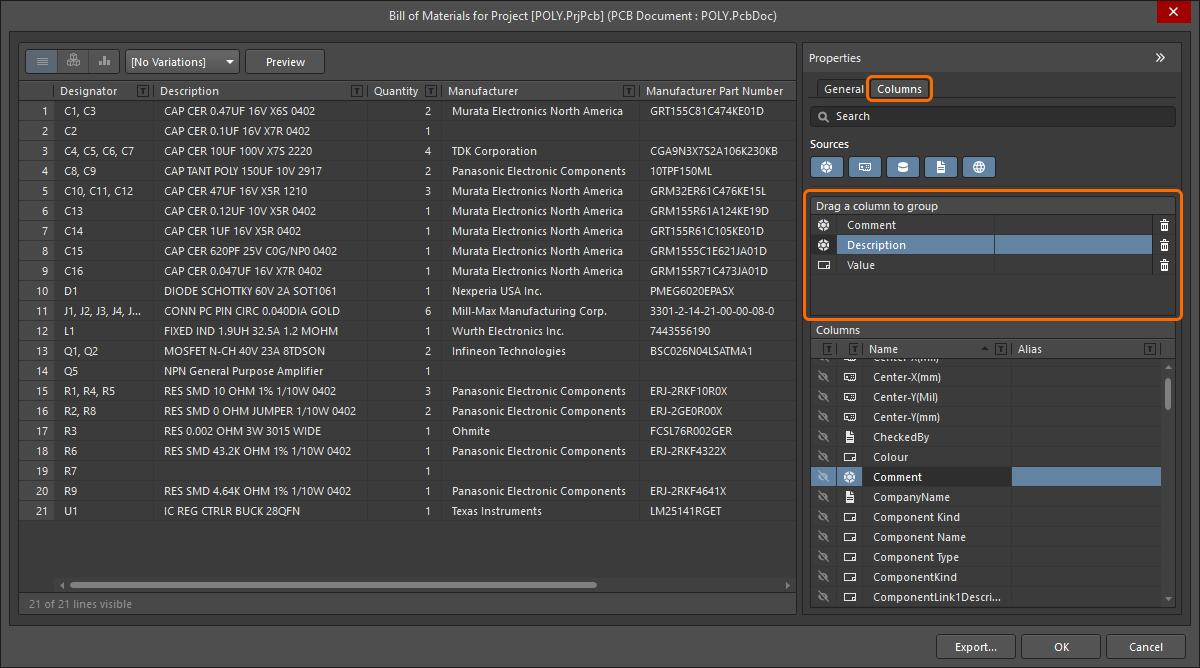 BOM Configuration in the Report Manager | Altium NEXUS 2 0 User