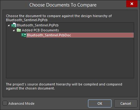 Щелкните ПКМ по имени проекта и выберите Show Differences, чтобы открыть диалоговое окно Choose Documents To Compare.
