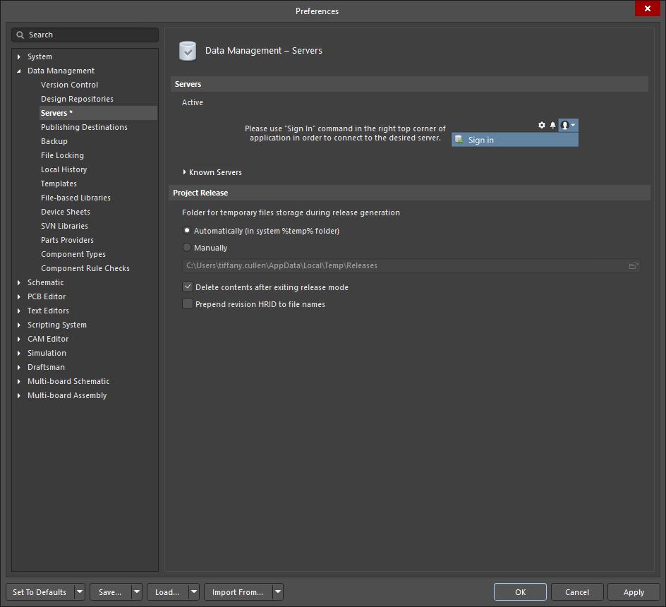 Data Management - Servers | Altium Designer 19 1 User Manual