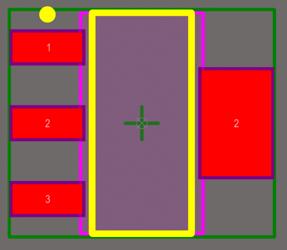 Посадочное место SOT223 с двумя контактными площадками с обозначением 2.