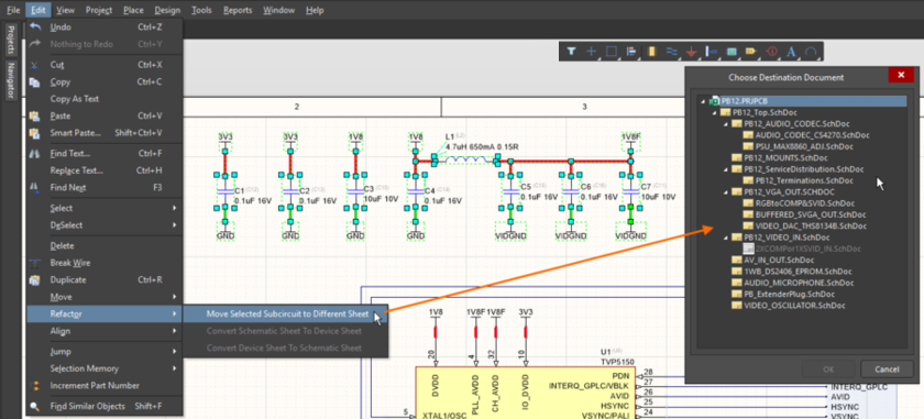 A selected section of circuitry can easily be moved to a different sheet in the project using the Move Selected Subcircuit to Different Sheet command.