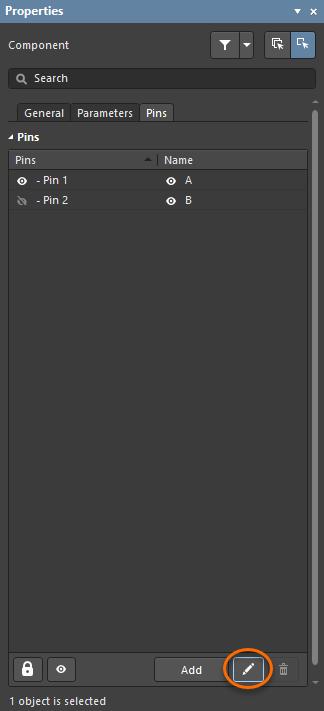 Используйте выделенную кнопку на вкладке Pins панели Properties, чтобы открыть диалоговое окно Component Pin Editor.