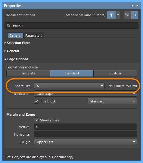 Используйте раздел Page Options панели Properties в режиме Document Options для задания размера листа.