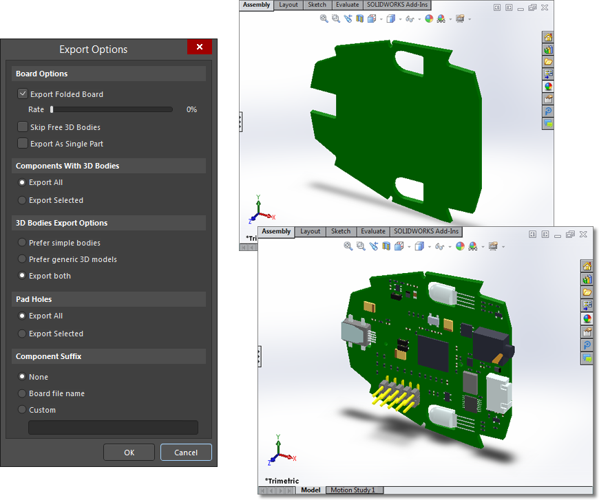 Exported STEP files displayed in a MCAD application, where the upper image file includes no pad holes or 3D bodies and the lower image file includes all objects.