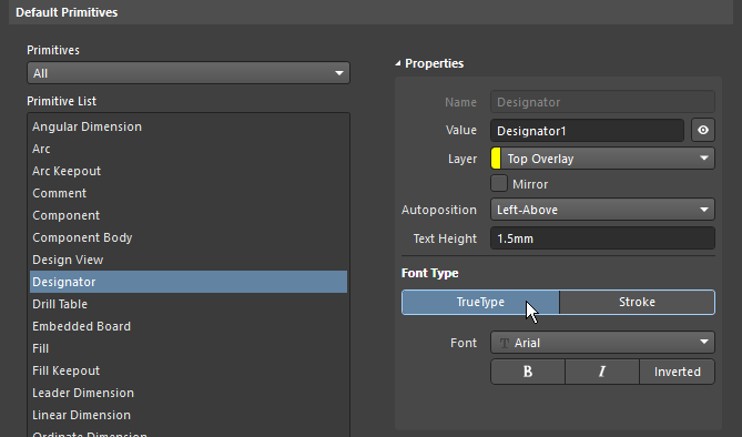 Preferences dialog, configuring the default Designator font