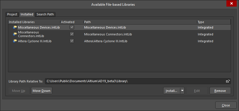 Available File-based Libraries dialog
