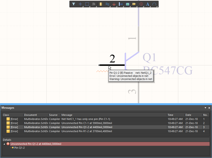Schematic error checking, demonstrating how to inspect the error condition
