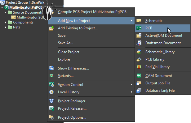 Right-click menu commands to add a new PCB to the project in Altium Designer