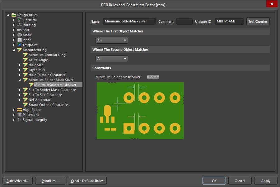 PCB editor, configuring the Minimum Solder Mask Sliver design rule