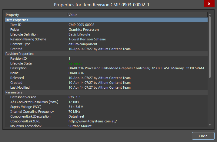 The Properties for Item Revision dialog