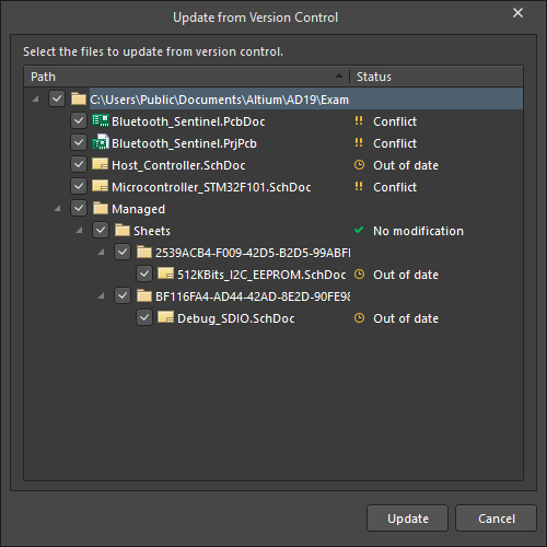 Update from Version Control dialog