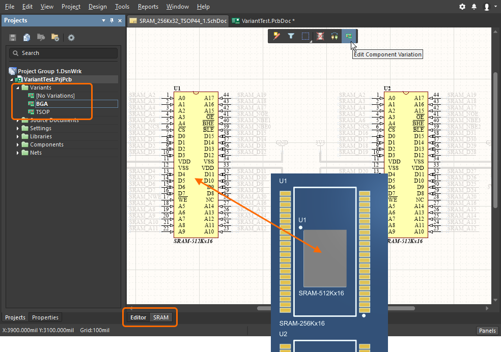 Working in the physical design view of the Schematic editor, with a specific variant