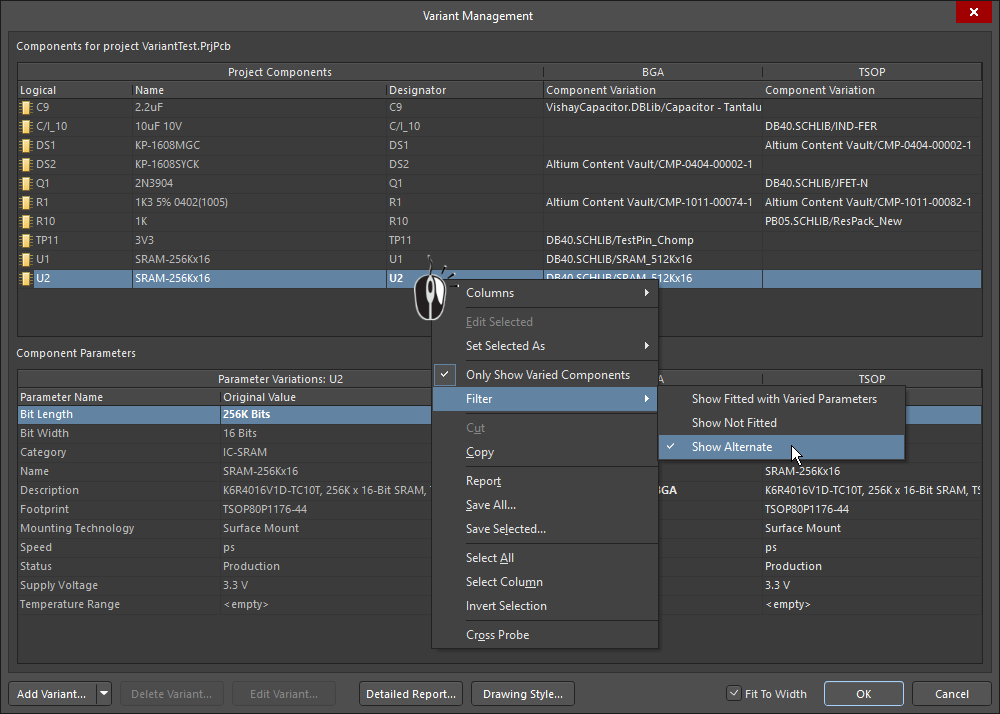 Variant Management dialog, filtering to only show Alternate Part variations