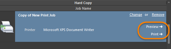 Preview and Print controls for the selected Print Job.