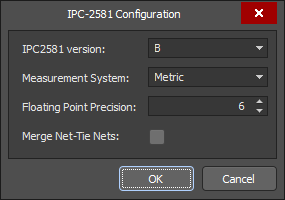 IPC-2581Configuration dialog