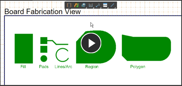 Demonstration, the available anchor points for various objects in a Board Fabrication View