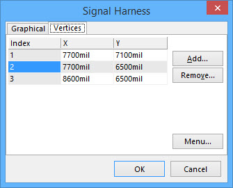 The Signal Harness dialog Vertices tab