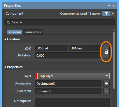 Examples of the Lock icon in the Properties panel in Component mode and Pad mode.