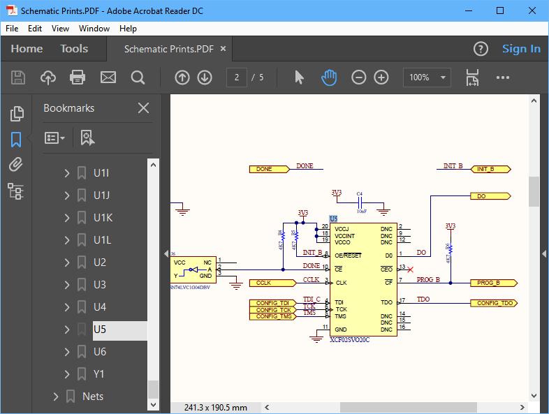 Документы PDF также могут включать в себя закладки для компонентов и цепей.