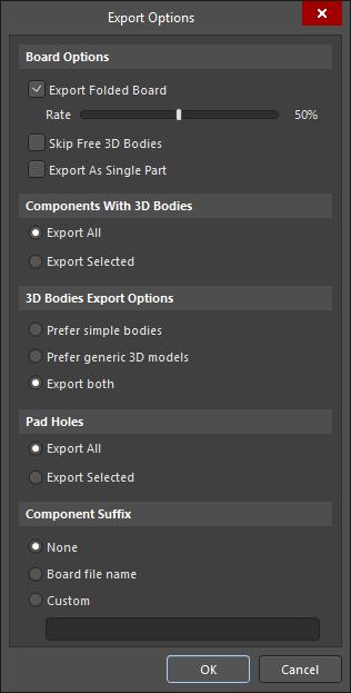 STEP Export Options dialog