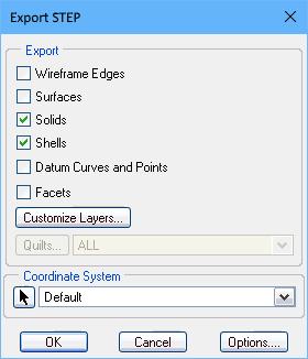 PTC Creo Export STEP dialog, configuring for STEP export