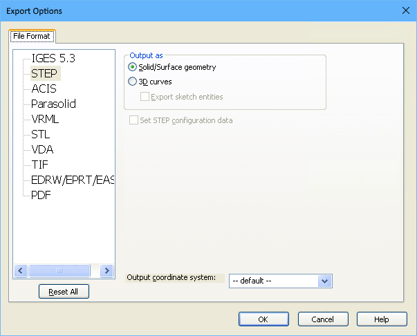 SOLIDWORKS Export Options dialog, configuring for STEP export