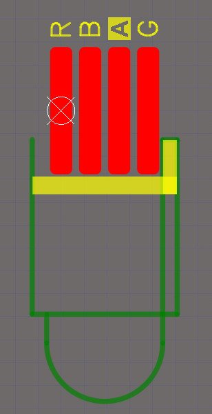 PCB footprint in 2D layout view mode