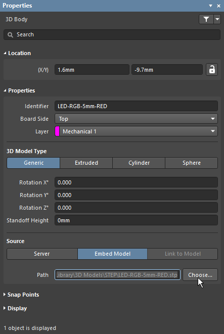 3D Body mode of the Properties panel, showing how to load an MCAD model file