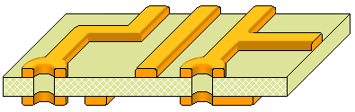 Double-sided board fabrication, remove remaining photoresist to reveal tracks