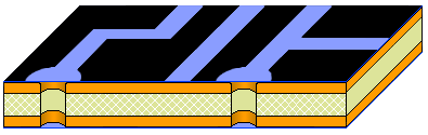 Double-sided board fabrication, apply negative image of tracks