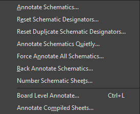 Various available annotation commands