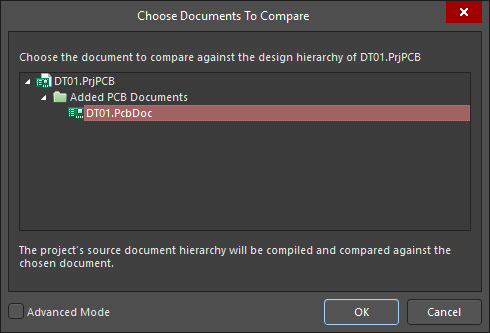 Choose Documents to Compare dialog