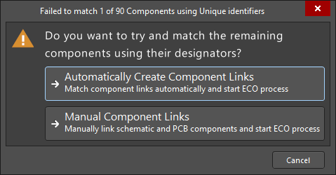 Failed to Match Unique Identifiers dialog