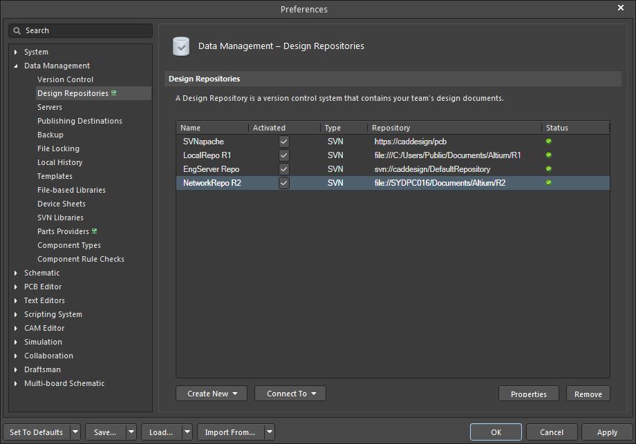 Version Control and Design Repositories | Altium NEXUS 2 0 User