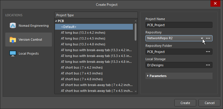 Create Project dialog, showing how a new version-controlled project can be created