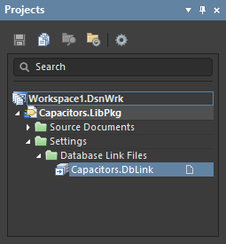 The DbLink file appears in the Settings folder in the Projects panel