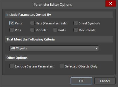 Parameter Editor Options dialog